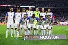 Jun 21, 2016; Houston, TX, USA; United States starting players pose for a team picture before a match against Argentina in the semifinals of the 2016 Copa America Centenario soccer tournament at NRG Stadium. Mandatory Credit: Troy Taormina-USA TODAY Sports