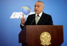 Presidente interino Michel Temer faz pronunciamento no Palácio do Planalto. 16/06/2016. REUTERS/Ueslei Marcelino
