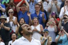 Britain Tennis - Wimbledon - All England Lawn Tennis & Croquet Club, Wimbledon, England - 3/7/16 France's Jo-Wilfried Tsonga celebrates winning his match against USA's John Isner REUTERS/Paul Childs