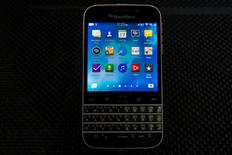 The new Blackberry Classic smartphone is displayed during the launch event in New York, December 17, 2014.  REUTERS/Brendan McDermid
