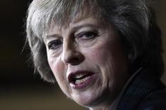 Тереза Мэй произносит речь в Лондоне. Страхи последствий выхода из ЕС ударили по рынку недвижимости Великобритании и обвалили фунт до 31-летнего минимума во вторник, когда правящие консерваторы в парламенте начали выбор нового премьер-министра. REUTERS/Dylan Martinez