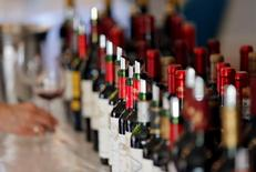 Bottles of French wine are displayed at the Chateau Bouscaut in Cadaujac, southwestern France, during the start of a week of wine tasting at the chateaux in the Bordeaux region April 4, 2016. REUTERS/Regis Duvignau
