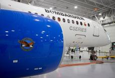 Bombardier's CS300 Aircraft, showing its' Pratt & Whitney engine in the foreground, sits in the hangar prior to its' test flight in Mirabel February 27, 2015. REUTERS/Christinne Muschi/File Photo