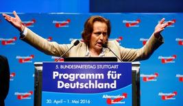 Beatrix von Storch gestures as she speaks at the party congress of the anti-immigration party Alternative for Germany (AfD) on the second day in Stuttgart, Germany, May 1, 2016. REUTERS/Wolfgang Rattay