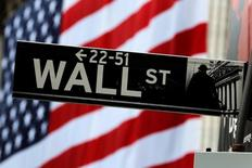 A Wall St sign hangs on a post outside of the New York Stock Exchange (NYSE) in New York, U.S., July 5, 2016.  REUTERS/Lucas Jackson