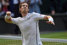 Britain Tennis - Wimbledon - All England Lawn Tennis & Croquet Club, Wimbledon, England - 8/7/16 Great Britain's Andy Murray celebrates winning his match against Czech Republic's Tomas Berdych REUTERS/Toby Melville