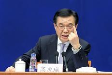 La situación económica global es sombría y las principales economías deben liderar el camino en el ataque a problemas que incluyen un crecimiento flojo y un comercio débil, dijo el sábado el ministro de Comercio de China, Gao Hucheng. En la imagen, el ministro de Comercio chino Gao Hucheng en una conferencia en Pekín, China, el 21 de febrero de  2016. REUTERS/China Daily