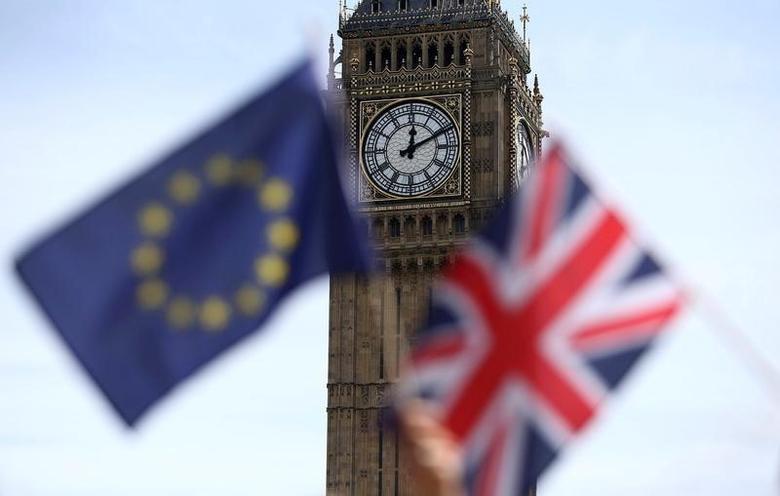 2016年6月19日,资料图片:伦敦议会广场亲欧盟活动参与者手持欧盟和英国国旗。REUTERS/Neil Hall