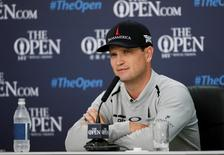 Golf - British Open - practice round - Royal Troon, Scotland, Britain - 11/07/2016.  Zach Johnson of the U.S., the 2015 champion, talks at a news conference ahead of this years tournament.  REUTERS/Craig Brough
