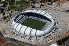 An aerial view shows the Arena das Dunas stadium, which will host matches for the 2014 soccer World Cup, in Natal, Brazil, January 22, 2014. REUTERS/Sergio Moraes/File photo