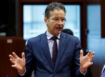 Le président de l'Eurogroupe Jeroen Dijsselbloem à Bruxelles. Les ministres des Finances de l'UE ont approuvé mardi l'ouverture d'une procédure de sanctions pour déficits excessifs contre l'Espagne et le Portugal. /Photo prise le 12 juillet 2016/REUTERS/François Lenoir