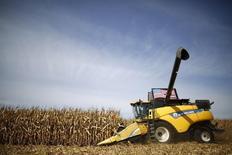 Un trabajador cosechando un maizal en Minooka, Illinous. 24 de septiembre de 2014. Los suministros de maíz de Estados Unidos se reducirán más que lo previsto en los próximos meses debido al incremento de las exportaciones, aunque una cosecha abundante reabastecerá rápidamente los inventarios, dijo el martes el Gobierno estadounidense. REUTERS/Jim Young