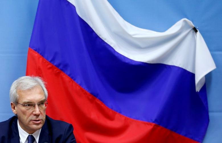 Russian ambassador to NATO Alexander Grushko addresses a news conference after the NATO-Russia Council at the Alliance headquarters in Brussels, Belgium July 13, 2016.    REUTERS/Francois Lenoir