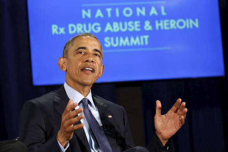 U.S. President Barack Obama participates in a National Rx Drug Abuse and Heroin Summit in Atlanta, Georgia March 29, 2016.    REUTERS/Kevin Lamarque
