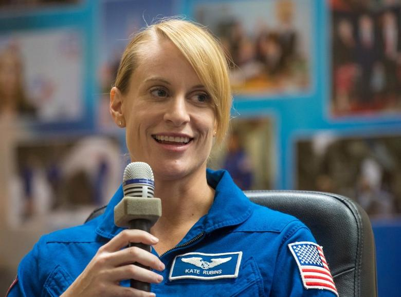 NASA astronaut Kate Rubins seen in quarantine behind glass during a crew press conference at the Cosmonaut Hotel in Baikonur, Kazakhstan, July 6, 2016. NASA/Bill Ingalls/Handout via Reuters