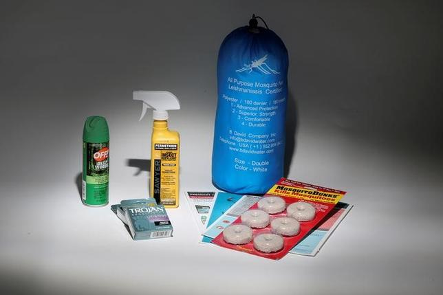 An anti Zika virus kit, including a bug net, mosquito repellent, condoms, literature and anti mosquito dunks, is pictured in this April 29, 2016 photo illustration. REUTERS/Carlo Allegri//Illustration/File Photo