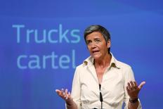 European Competition Commissioner Margrethe Vestager holds a news conference at the EU Commission's headquarters in Brussels, Belgium, July 19, 2016. REUTERS/Francois Lenoir