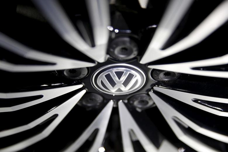 A Volkswagen sign is seen on a wheel of a car presented during an auto show in Beijing April 25, 2016. REUTERS/Damir Sagolj/File Photo