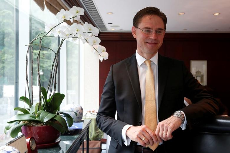 Jyrki Katainen, EU Commission vice-president for jobs, growth, investment and competitiveness, poses at an event in Hong Kong, China July 14, 2016. REUTERS/Bobby Yip