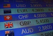 Rates of currencies, including British Pound, are displayed after Brexit referendum on an electronic board at a currency exchange in Warsaw, Poland June 24, 2016. REUTERS/Kacper Pempel