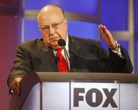 Roger Ailes, chairman and CEO of Fox News and Fox Television Stations, answers questions during a panel discussion at the Television Critics Association summer press tour in Pasadena, California July 24, 2006. Picture taken July 24, 2006.    REUTERS/Fred Prouser/File Photo