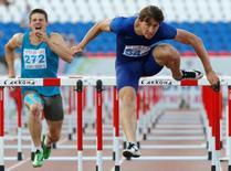 Athletics - Russian track and field championship - Men's 110m hurdles - Cheboksary, Russia, 21/6/16. Sergey Shubenkov competes.  REUTERS/Sergei Karpukhin