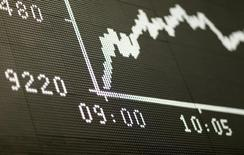 Табло с графиком индекса  DAX на фондовой бирже Франкфурта-на-Майне. Европейские рынки акций снизились в пятницу из-за падения акций испанского Banco de Sabadell, однако бумаги Vodafone выросли после сообщения о подъеме выручки. REUTERS/Ralph Orlowski