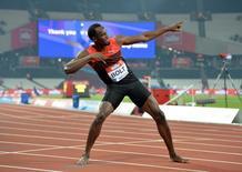 Velocista jamaicano Usain Bolt comemora vitória nos 200 metros rasos durante prova da Liga Diamante em Londres 22/07/2016  REUTERS/Kirby Lee-USA TODAY Sports