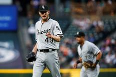 Jul 18, 2016; Seattle, WA, USA; Chicago White Sox starting pitcher Chris Sale (49) reacts after getting the last out of the sixth inning against the Seattle Mariners at Safeco Field. Mandatory Credit: Joe Nicholson-USA TODAY Sports