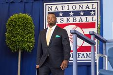 Jul 24, 2016; Cooperstown, NY, USA; Hall of Fame Inductee Ken Griffey Jr. is introduced during the 2016 MLB baseball hall of fame induction ceremony at Clark Sports Center. Mandatory Credit: Gregory J. Fisher-USA TODAY Sports