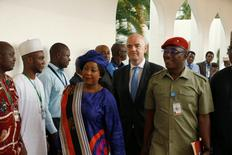 Nigerian Minister of Sports and Youth development Solomon Dalung leads FIFA President Gianni Infantino and FIFA Secretary General Fatma Samoura to visit Nigeria's President Muhammadu Buhari in Abuja, Nigeria, July 25, 2016. REUTERS/Afolabi Sotunde