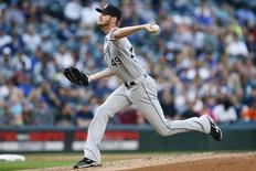 Jul 18, 2016; Seattle, WA, USA; Chicago White Sox starting pitcher Chris Sale (49) throws against the Seattle Mariners during the first inning at Safeco Field. Mandatory Credit: Joe Nicholson-USA TODAY Sports