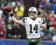 Jan 3, 2016; Orchard Park, NY, USA; New York Jets quarterback Ryan Fitzpatrick (14) throws a pass during the first half against the Buffalo Bills at Ralph Wilson Stadium. Mandatory Credit: Timothy T. Ludwig-USA TODAY Sports