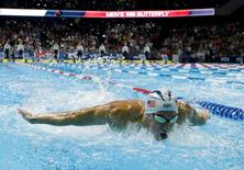 Michael Phelps during the men's 100m butterfly finals in the U.S. Olympic swimming team trials at CenturyLink Center. Rob Schumacher-USA TODAY Sports