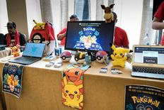 Jul 31, 2016; White Plains, NY, USA;  A vendor displays signs for a Pokemon Go Tournament during Day 3 of Defend the North at Crowne Plaza Hotel. Mandatory Credit: Vincent Carchietta-USA TODAY Sports