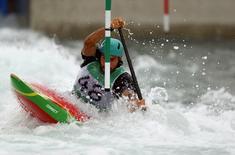 2016 Rio Olympics - Canoe Slalom - Training - Whitewater Stadium - Rio de Janeiro, Brazil - 03/08/2016.   Jose Carvalho (POR) of Portugal trains.   REUTERS/Ivan Alvarado