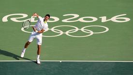 2016 Rio Olympics - Tennis training - Olympic Tennis Centre - Rio de Janeiro, Brazil - 04/08/2016. Novak Djokovic (SRB) of Serbia trains. REUTERS/Kevin Lamarque