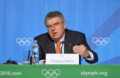 Aug 4, 2016; Rio de Janeiro, BRA; IOC president Thomas Bach speaks during his press conference at the Main Press Center. Mandatory Credit: Michael Madrid-USA TODAY Sports
