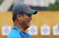 2016 Rio Olympics - Archery training - Sambodromo - Rio de Janeiro, Brazil - 03/08/2016. Team USA archery coach KiSik Lee during training. REUTERS/Yves Herman