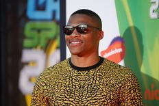 NBA basketball player Russell Westbrook poses at the 2014 Nickelodeon Kids' Choice Sports awards in Los Angeles July 17, 2014. REUTERS/Danny Moloshok