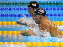 2016 Rio Olympics - Swimming - Final - Men's 400m Individual Medley Final - Olympic Aquatics Stadium - Rio de Janeiro, Brazil - 06/08/2016. Daiya Seto (JPN) of Japan and Chase Kalisz (USA) of USA compete   REUTERS/David Gray