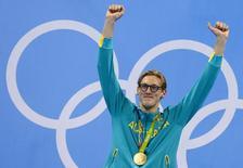 2016 Rio Olympics - Swimming - Victory Ceremony - Men's 400m Freestyle Victory Ceremony - Olympic Aquatics Stadium - Rio de Janeiro, Brazil - 06/08/2016. Mack Horton (AUS) of Australia poses with his medal.    REUTERS/David Gray