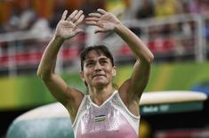 2016 Rio Olympics - Artistic Gymnastics - Preliminary - Women's Qualification - Subdivisions - Rio Olympic Arena - Rio de Janeiro, Brazil - 07/08/2016. Oksana Chusovitina (UZB) of Uzbekistan competes. REUTERS/Dylan Martinez
