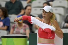 Wozniacki, em partida contra checa Petra Kvitov  08/08/2016  REUTERS/Toby Melville