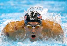 2016 Rio Olympics - Swimming  - Men's 200m Butterfly Semifinals - Olympic Aquatics Stadium - Rio de Janeiro, Brazil - 08/08/2016. Michael Phelps (USA) of USA  competes   REUTERS/David Gray