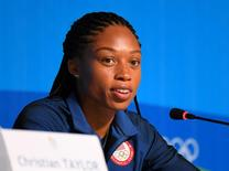 Aug 10, 2016; Rio de Janeiro, Brazil; Allyson Felix during a USA track and field press conference for the Rio 2016 Summer Olympic Games at the Main Press Centre. Mandatory Credit: Christopher Hanewinckel-USA TODAY Sports