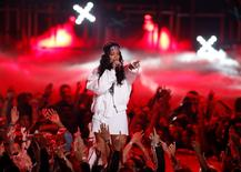 Rihanna performs on stage at the 2014 MTV Movie Awards in Los Angeles, California  April 13, 2014.  REUTERS/Lucy Nicholson/File Photo