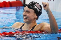 USA's Katie Ledecky reacts after winning and setting a new world record.    REUTERS/Marcos Brindicci