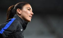 Aug 3, 2016; Belo Horizonte, Brazil; Team USA goalkeeper Hope Solo (1) warms up prior to the match against New Zealand at Estadio Mineirao.  John David Mercer-USA TODAY Sports