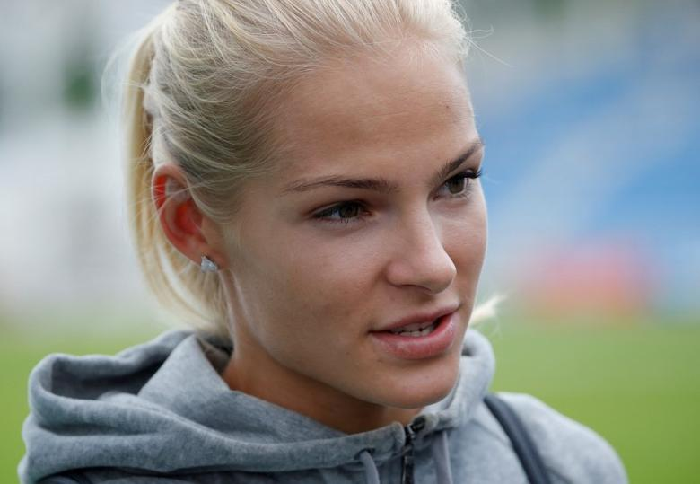 Athletics - 58th Brothers Znamensky Memorial track and field meeting - Women's long jump - Meteor Stadium, Zhukovsky, Russia, 4/6/16. Darya Klishina of Russia talks to the media after competing. REUTERS/Sergei Karpukhin/File Photo